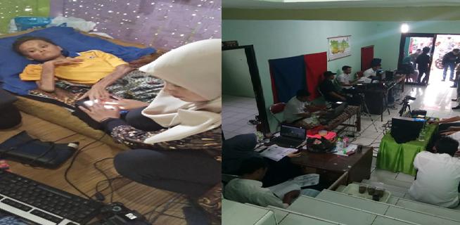 Foto pelaksanaan kegiatan pelayanan langsung Rekam KTP El bagi penduduk sakit darurat dan Persiapan e-voting Pilkades, 2018