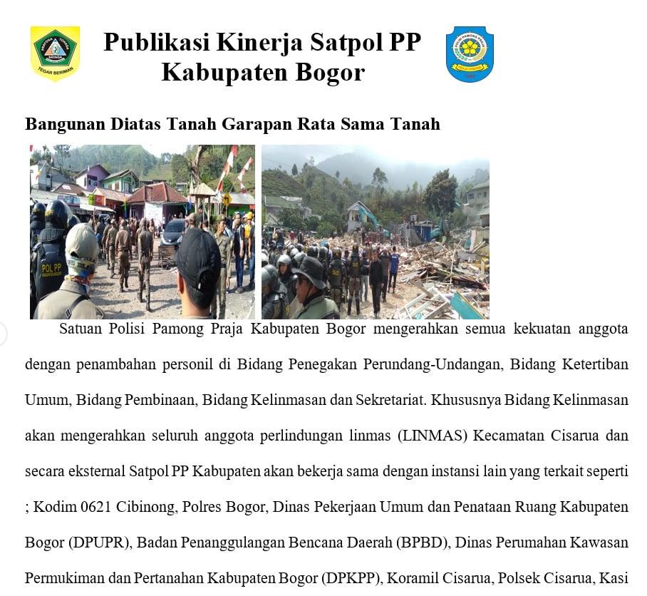 Publikasi Kinerja Satpol PP Kabupaten Bogor Tahun 2019 201